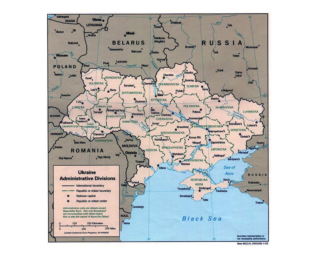 Detailed administrative divisions map of Ukraine - 1993