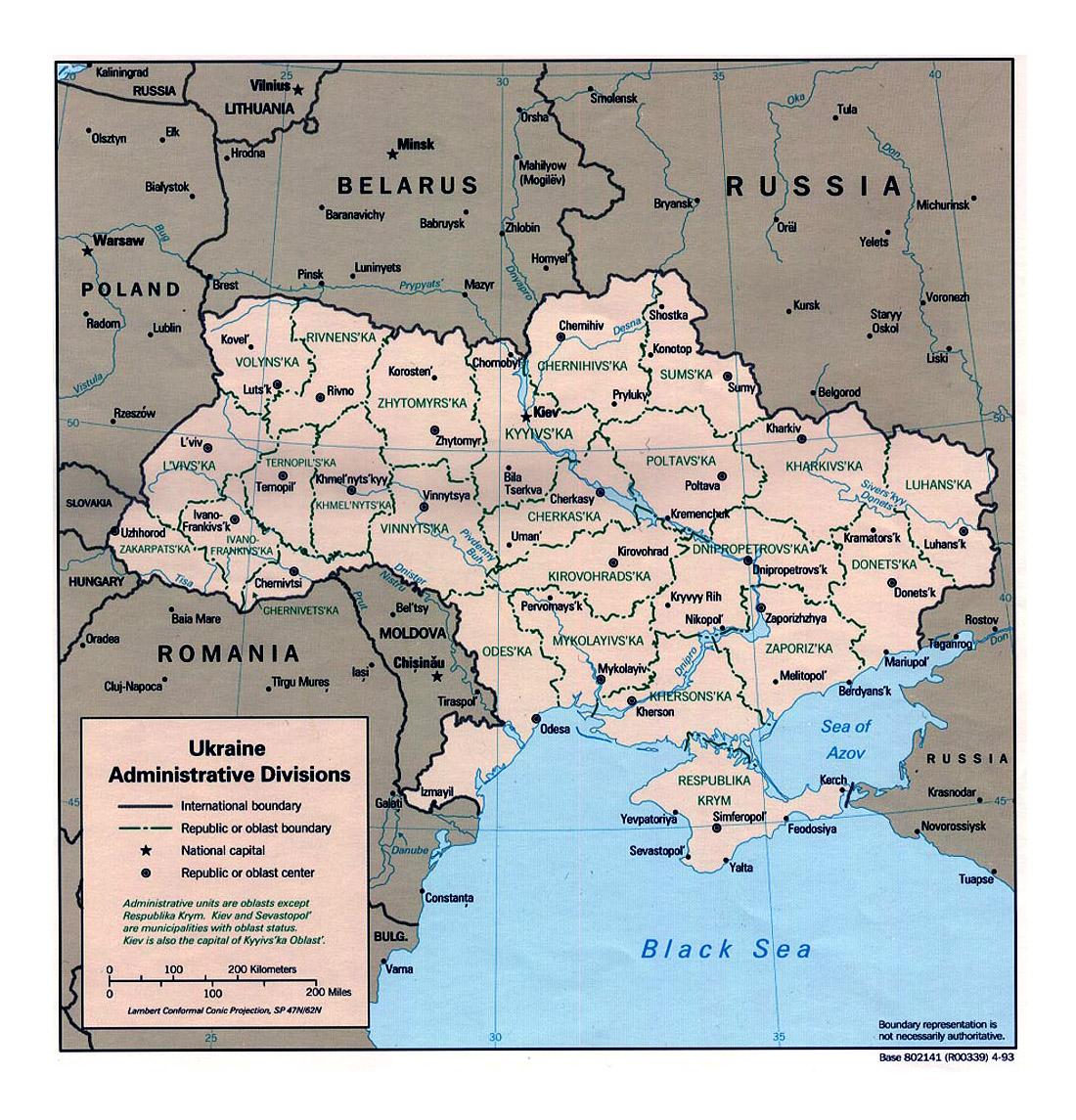 Detailed administrative divisions map of Ukraine 1993 Ukraine