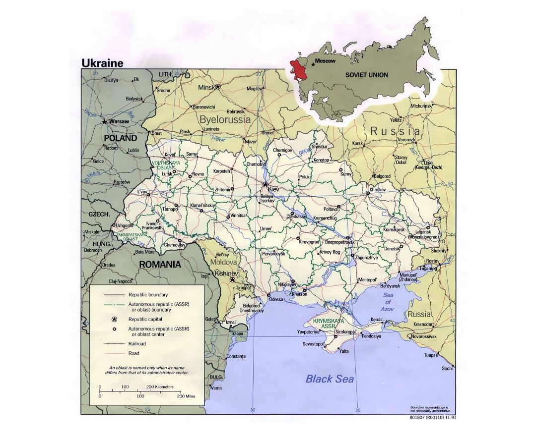 Detailed political and administrative map of Ukraine with roads, railroads and major cities - 1991