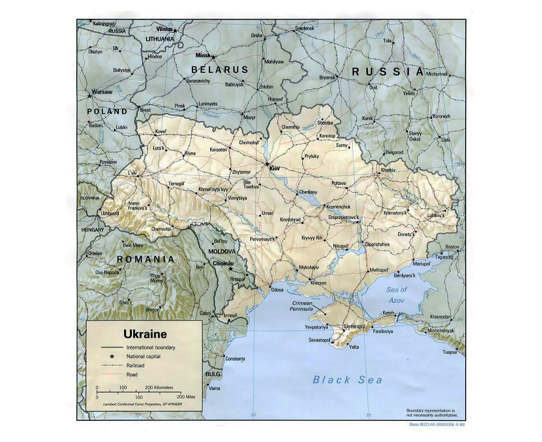 Detailed political map of Ukraine with relief, roads, railroads and major cities - 1993