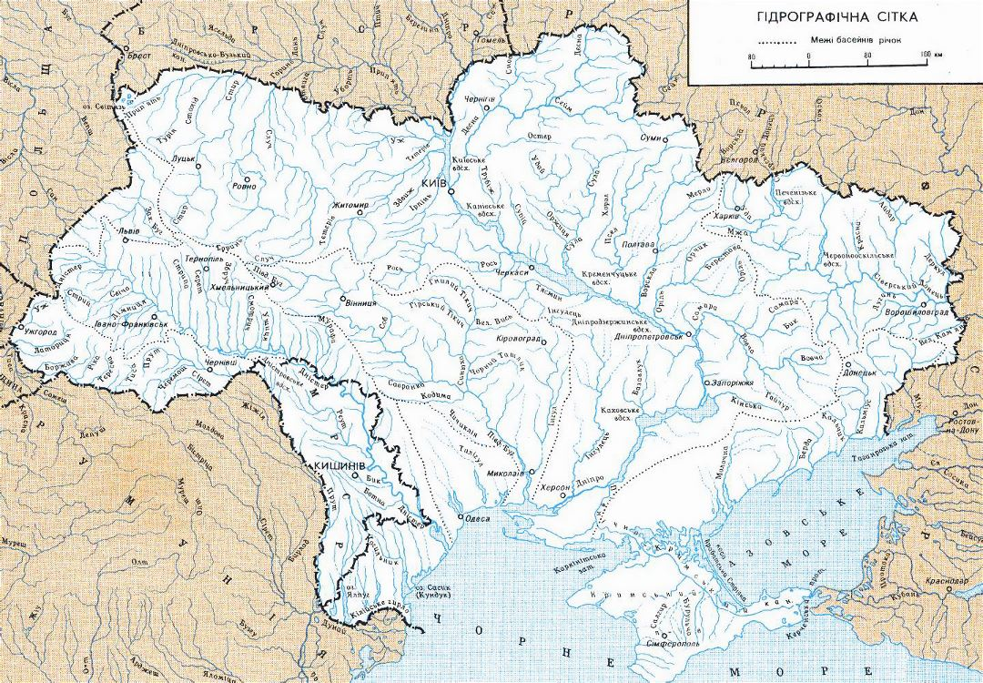 Detailed rivers map of Ukraine in ukrainian