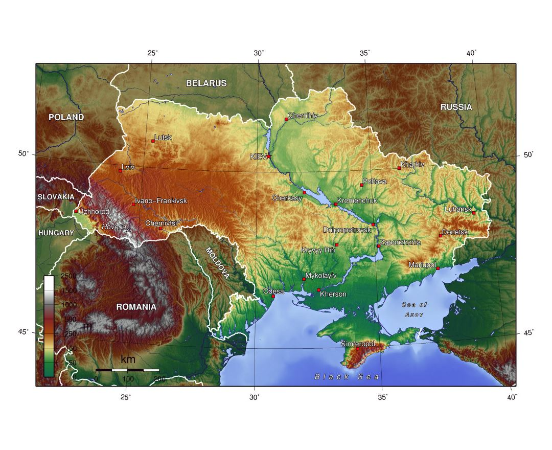 Detailed topographical map of Ukraine