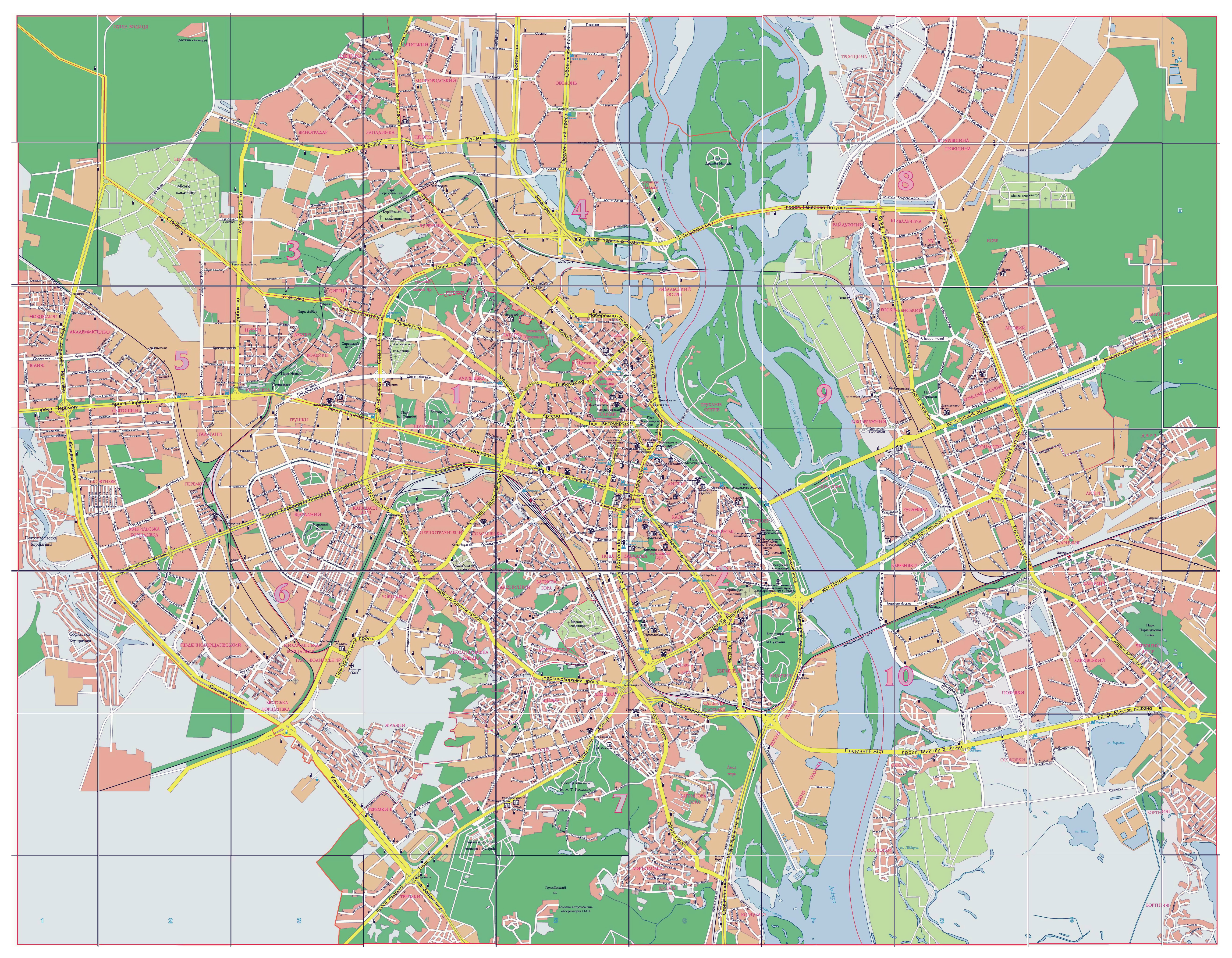 Large Detailed Road Map Of Kyiv City In Ukrainian Kiev Ukraine