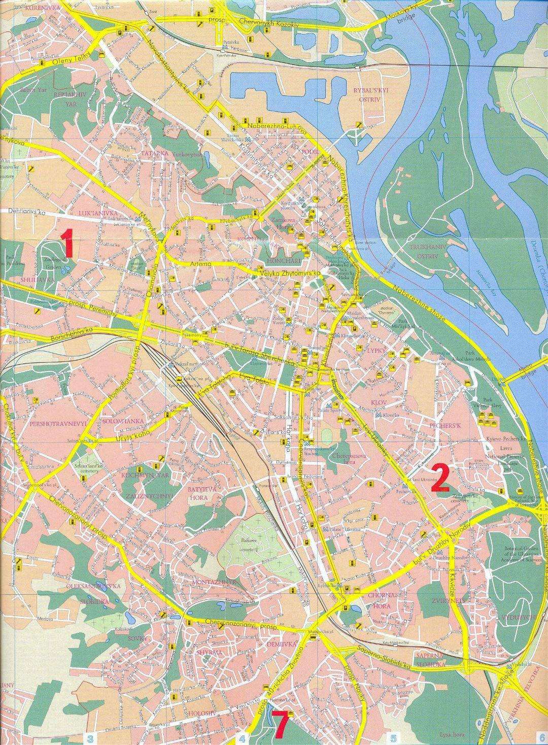 Large Detailed Street Map Of Kiev City Center Kiev Ukraine