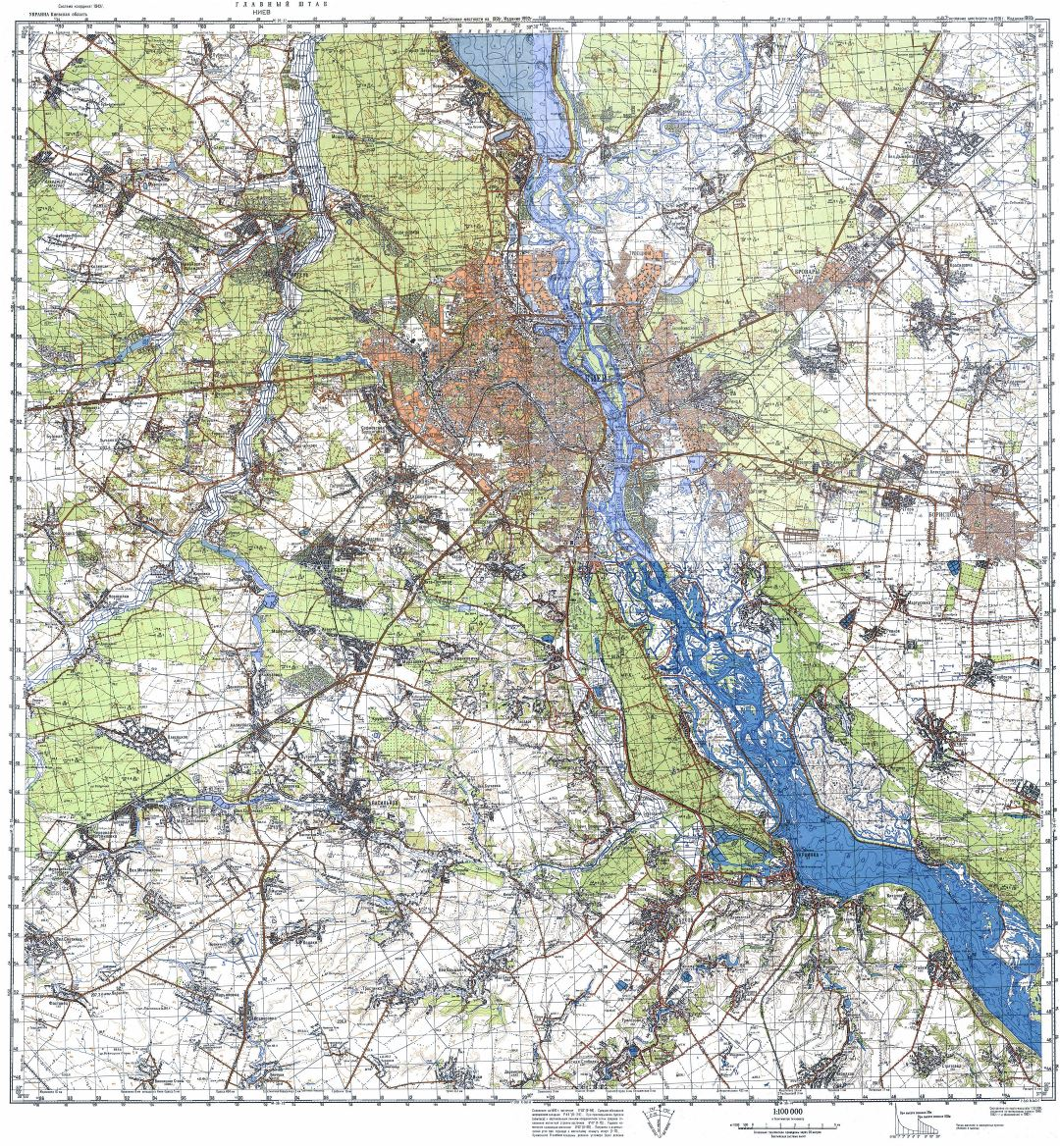 Large detailed topographical map of Kiev city in russian
