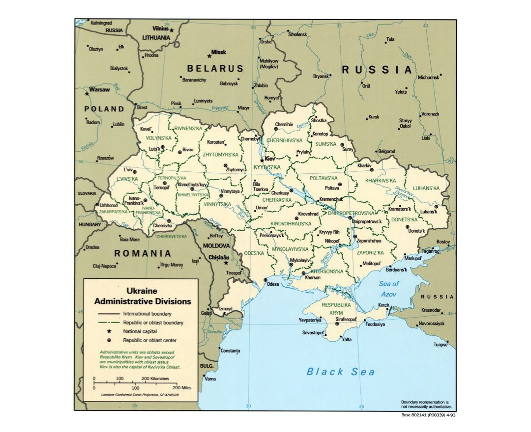 Large Detailed Administrative Divisions Map Of Ukraine 1993