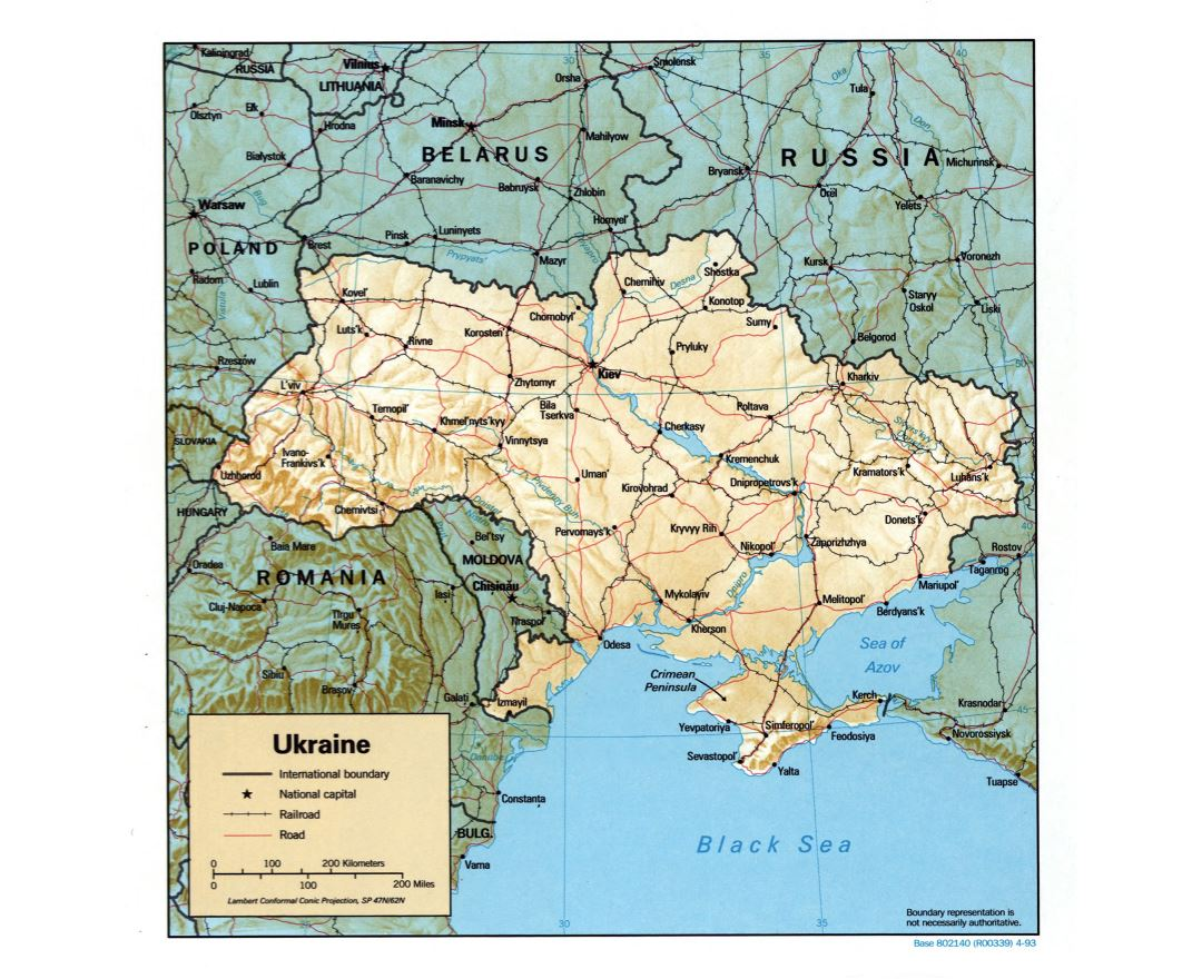 Large detailed political map of Ukraine with relief, roads, railroads and major cities - 1993