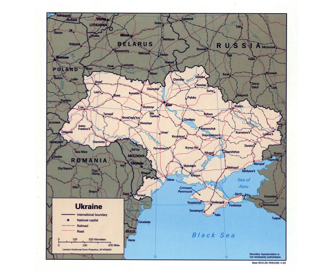 Large detailed political map of Ukraine with roads, railroads and major cities - 1993