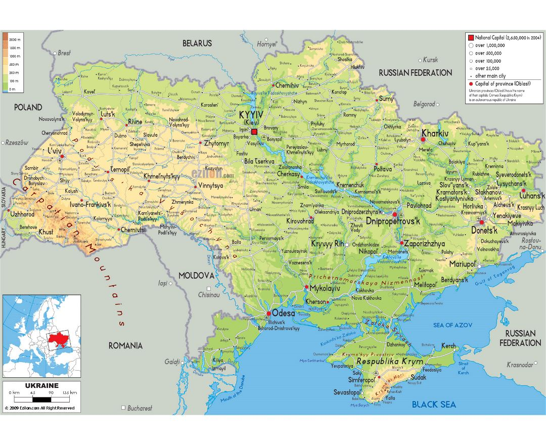 Large physical map of Ukraine with roads, cities and airports