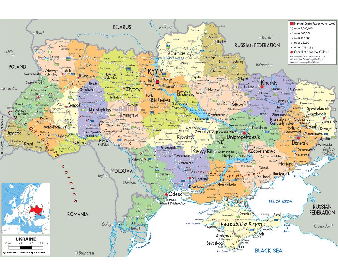 Large political and administrative map of Ukraine with roads, cities and airports