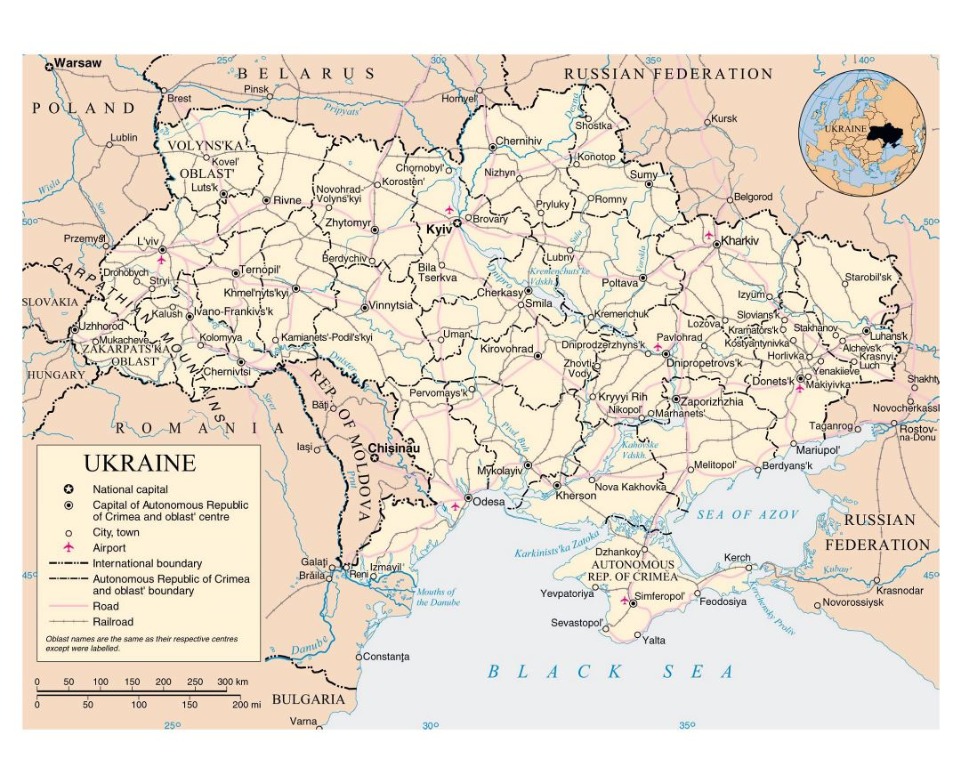 Large political and administrative map of Ukraine with roads, railroads, cities and airports
