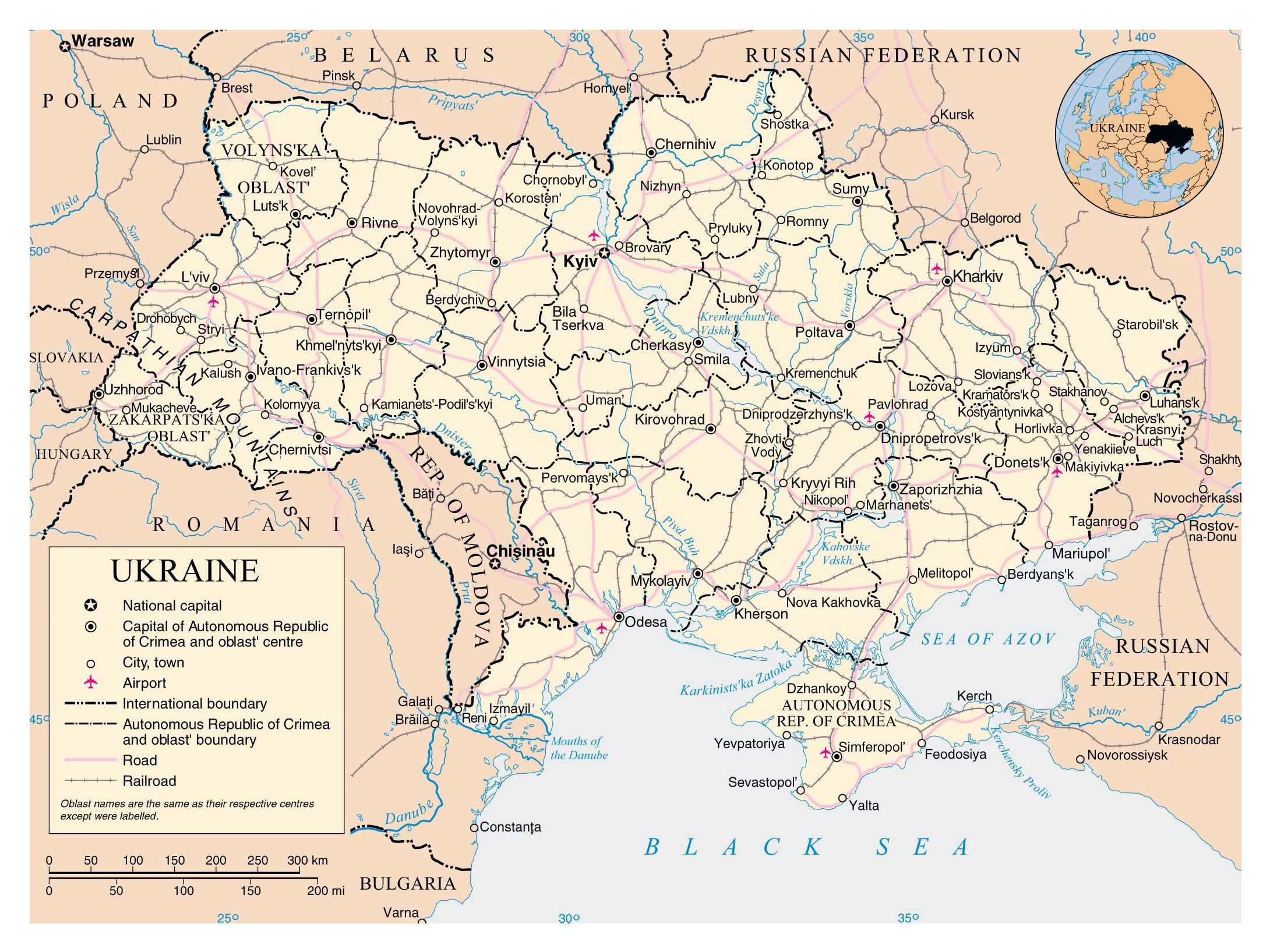 Ukraine On Map Of Europe.Large Political And Administrative Map Of Ukraine With Roads