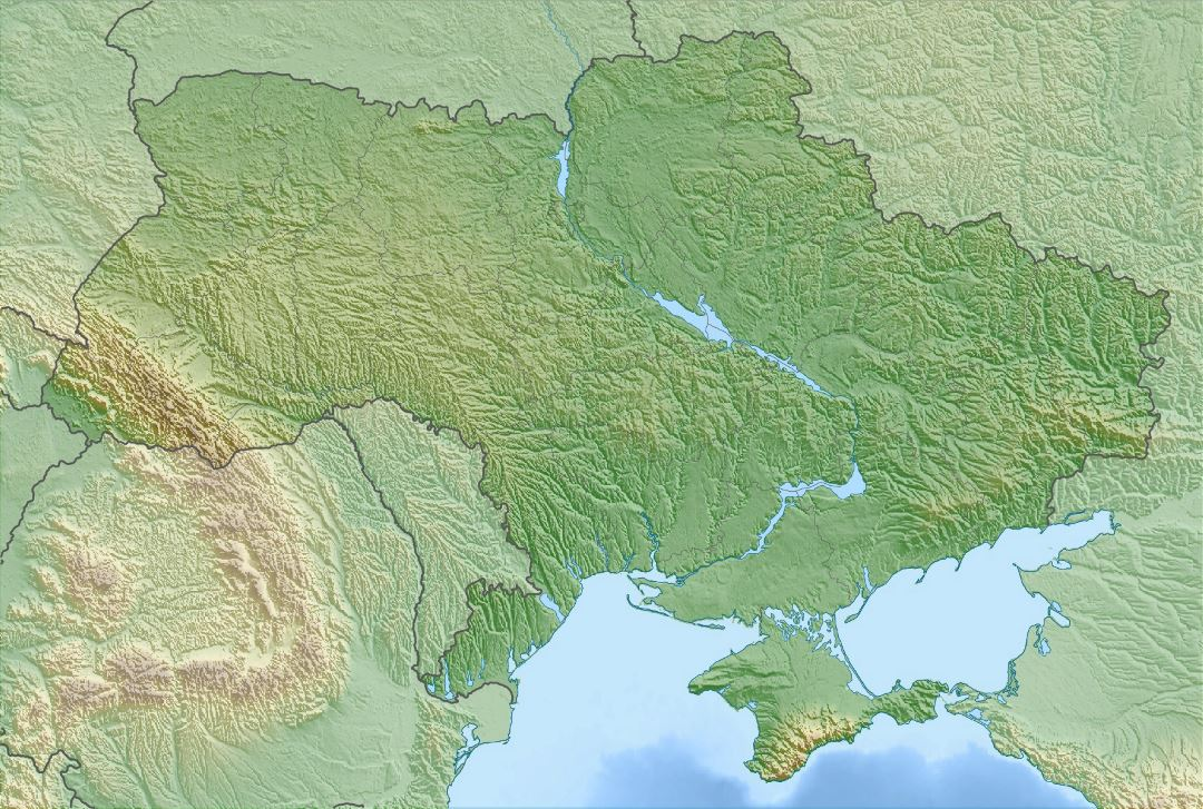 Large relief map of Ukraine