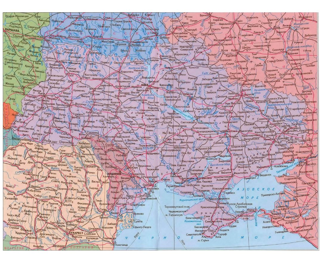 Large road map of Ukraine in russian