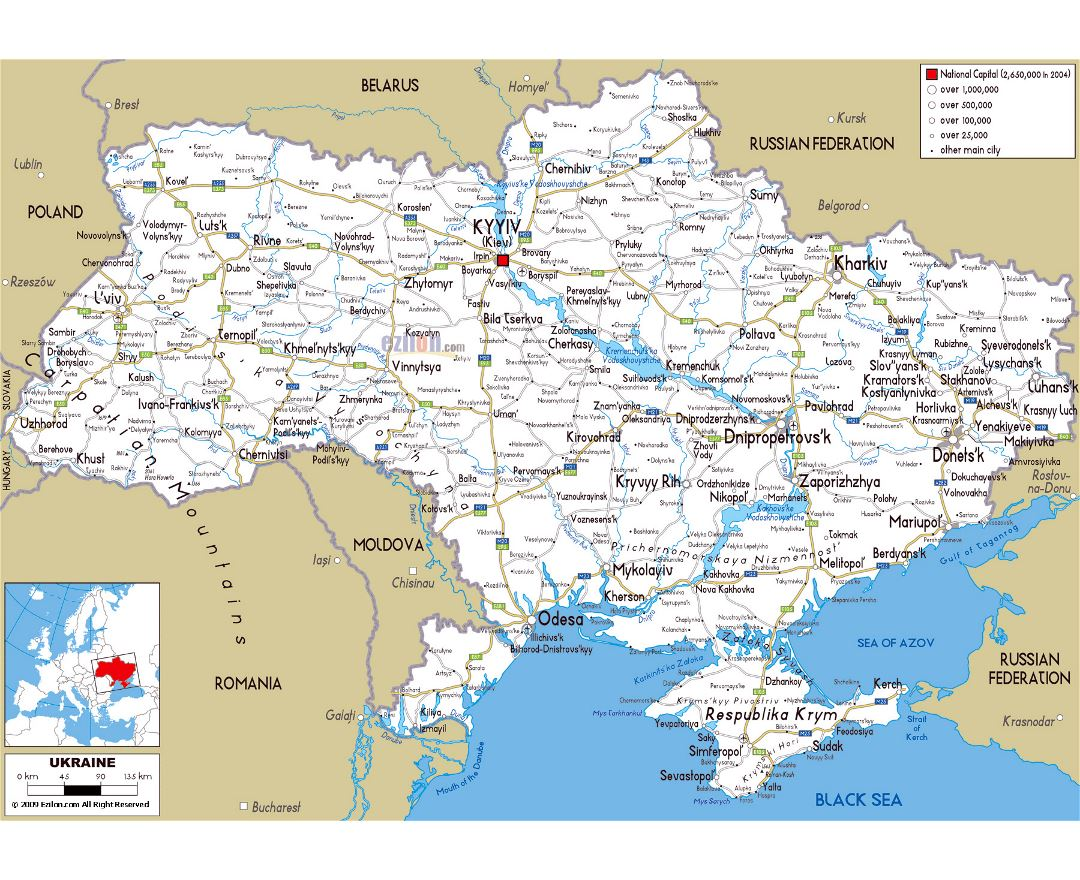 Maps of the Ukraine Detailed map of the Ukraine in English and