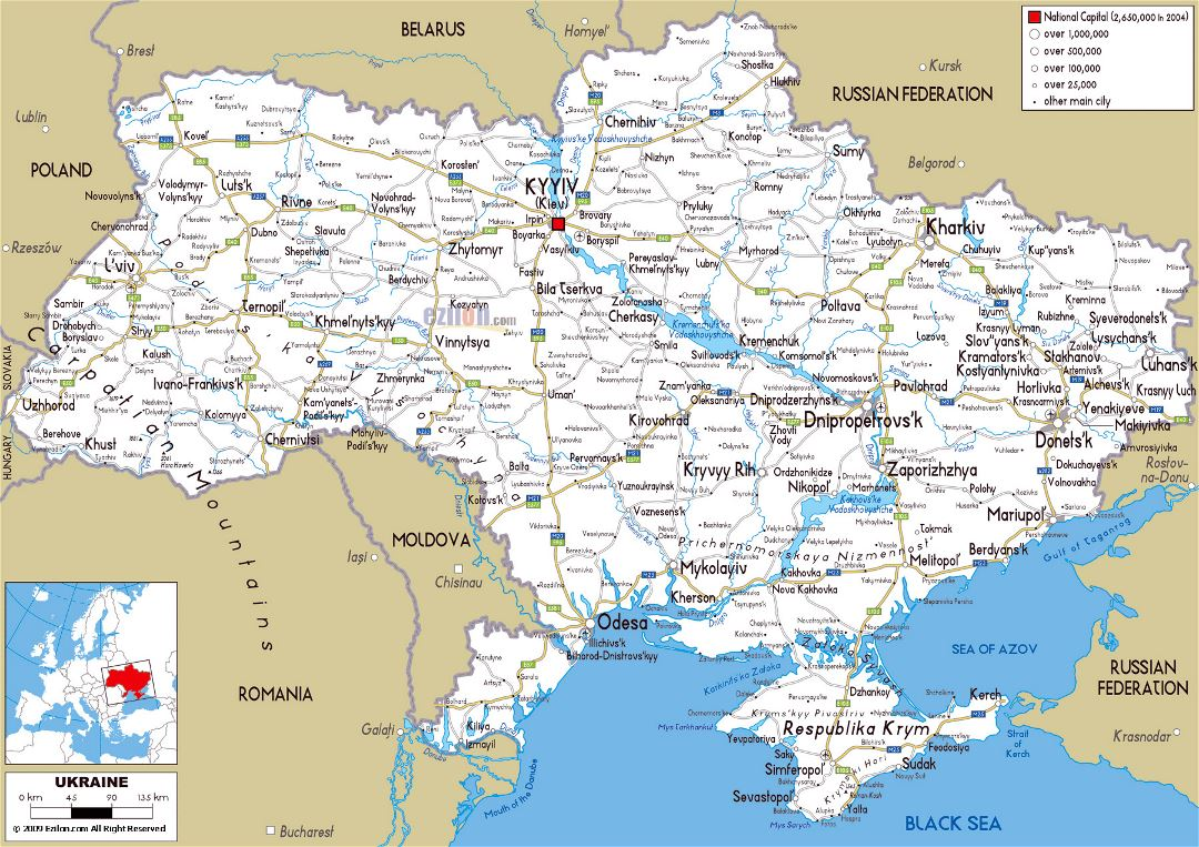 Large road map of Ukraine with cities and airports