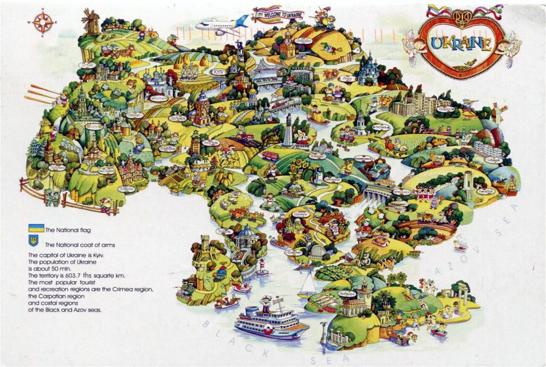 Large tourist illustrated map of Ukraine
