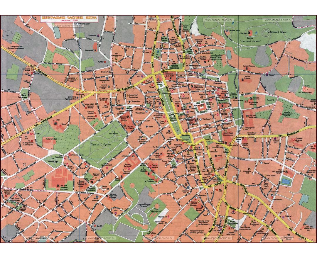 Maps of Lviv Detailed map of Lviv in English and Russian Tourist