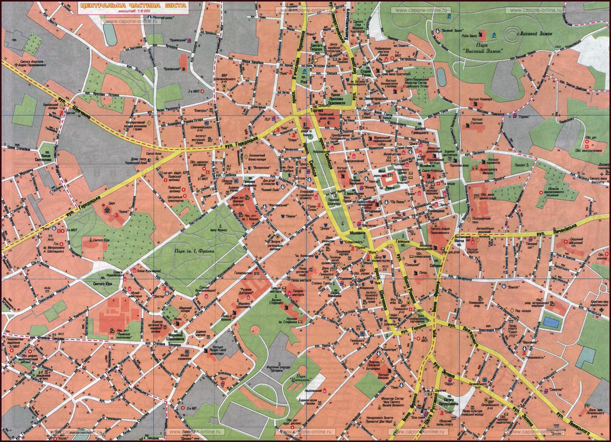 Large detailed road map of Lviv city center in ukrainian Lviv