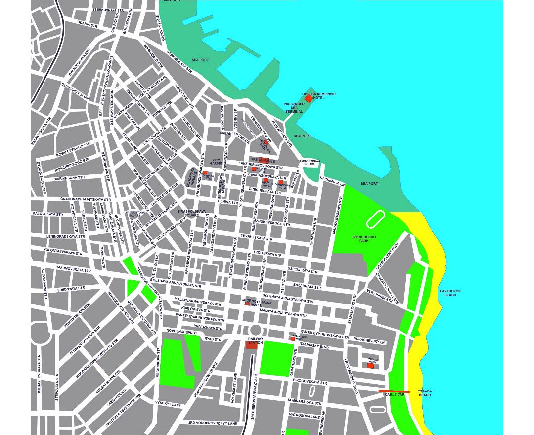 Detailed hotels map of Odessa city center in english