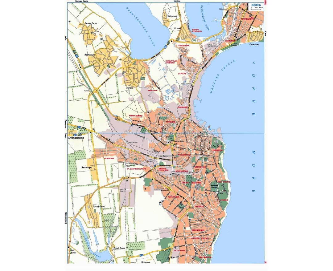 Detailed road map of Odessa city in ukrainian