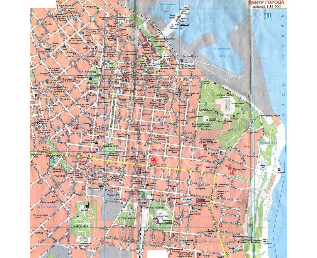 Maps of Odessa Detailed map of Odessa in English and Russian