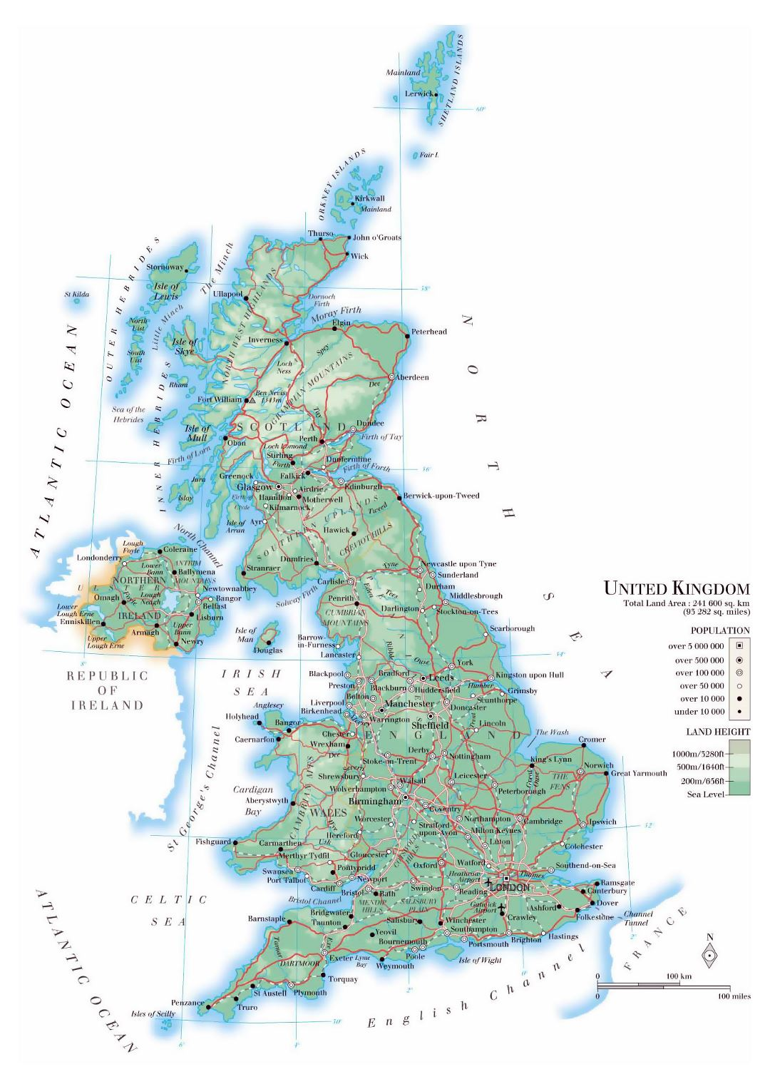Detailed physical map of United Kingdom with roads, cities and airports