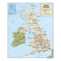 Map Of England Showing Major Cities.Large Detailed Political Map Of United Kingdom With Roads Railroads