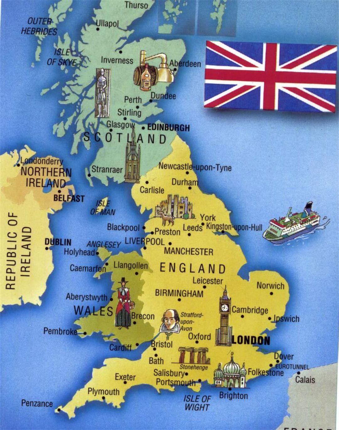 Detailed tourist map of United Kingdom United Kingdom Europe