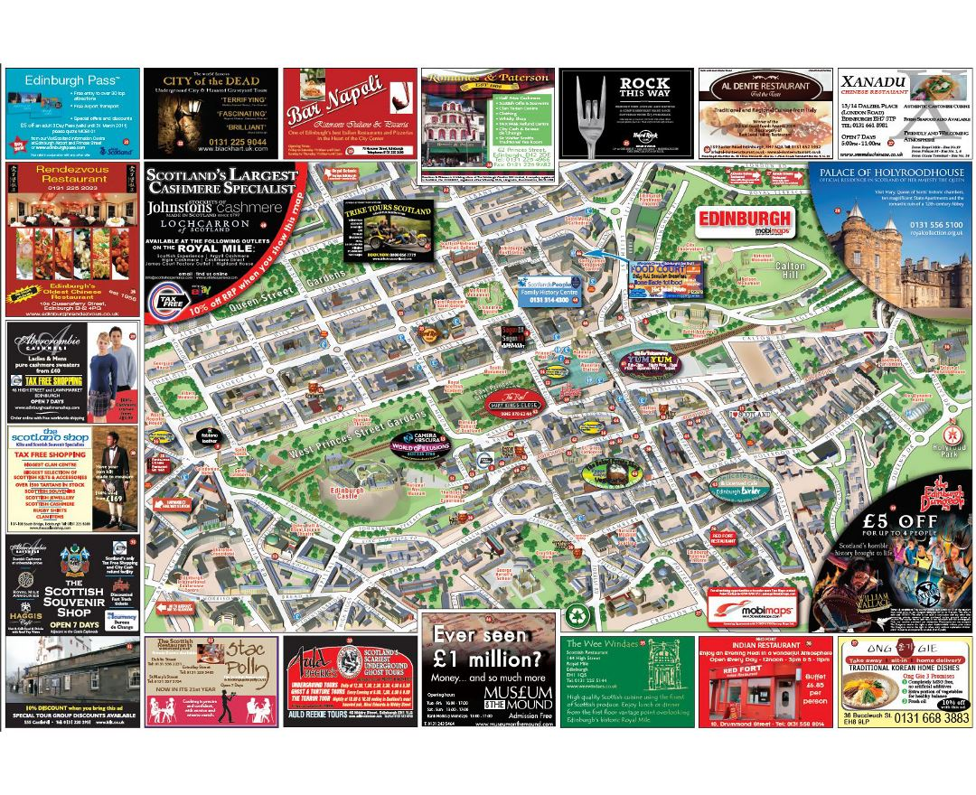 Maps of Edinburgh Detailed map of Edinburgh in English Tourist