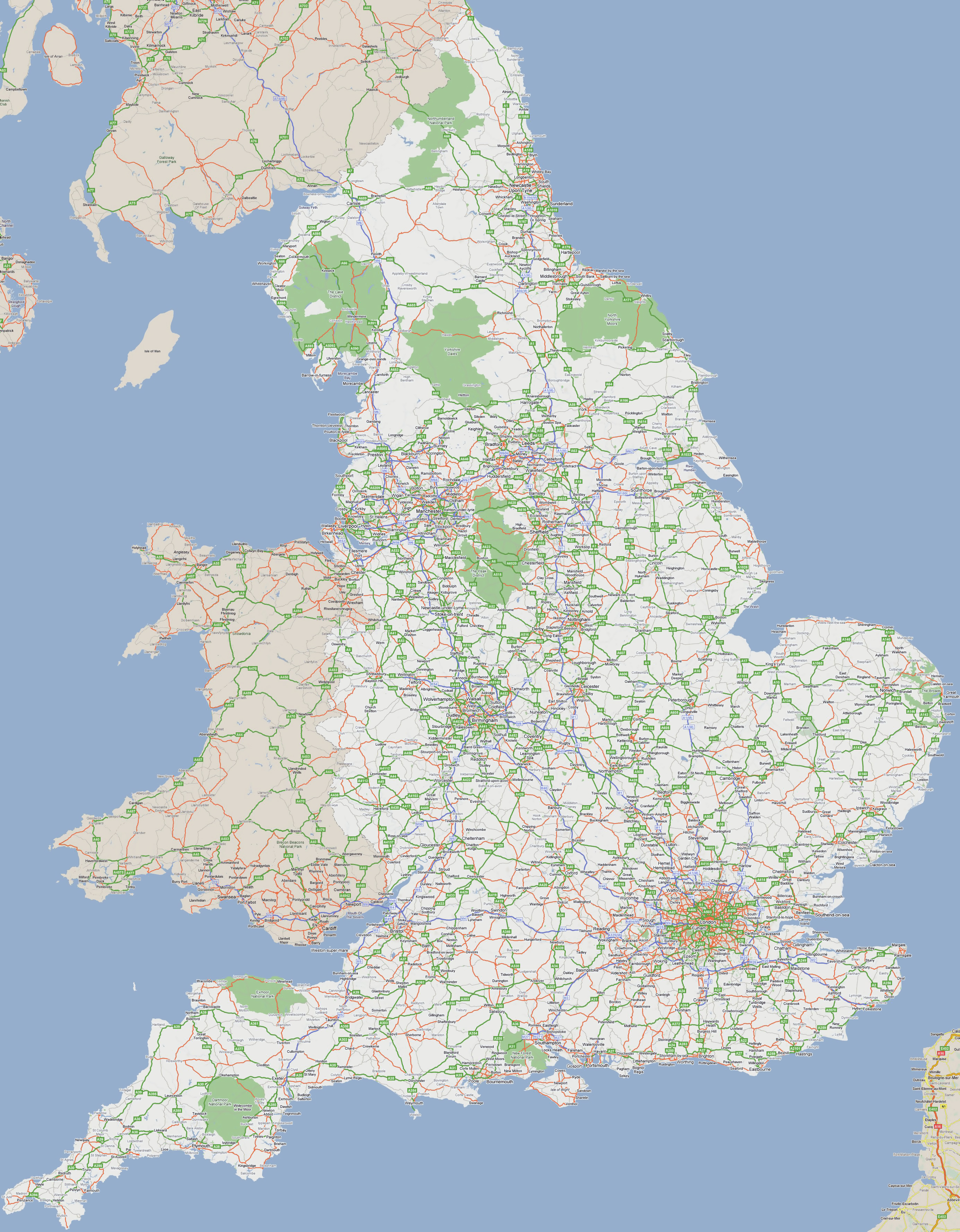 Large Road Map Of England With Cities England United Kingdom