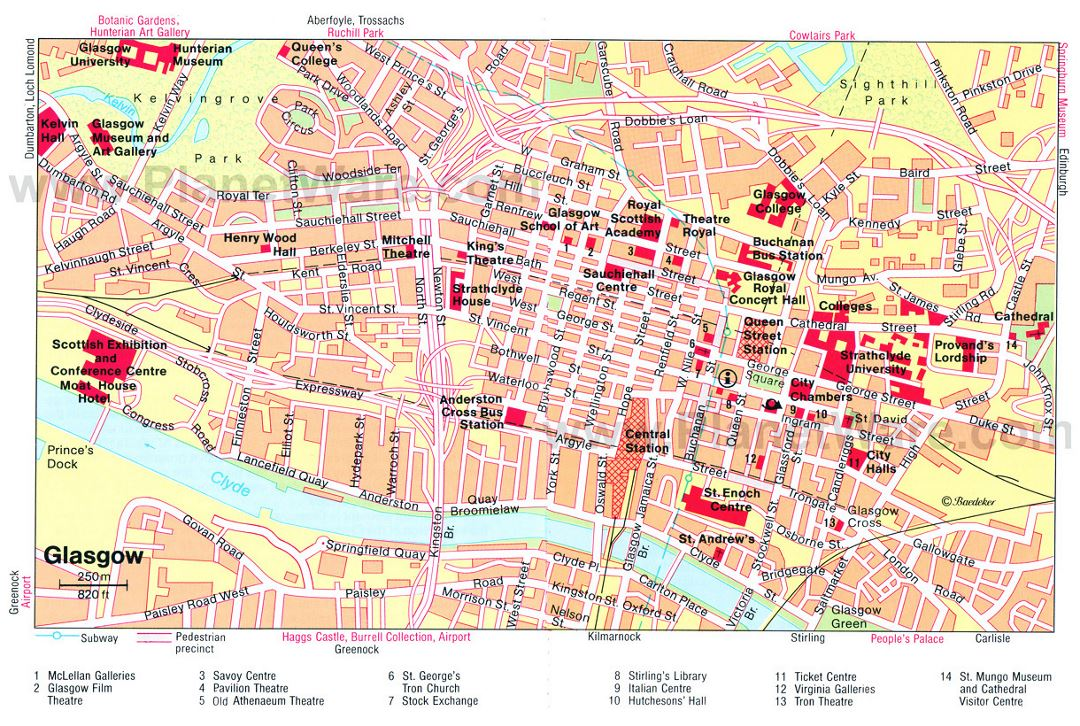 Detailed tourist map of Glasgow city center