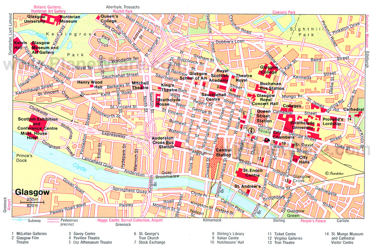 Detailed tourist map of Glasgow city center Glasgow United