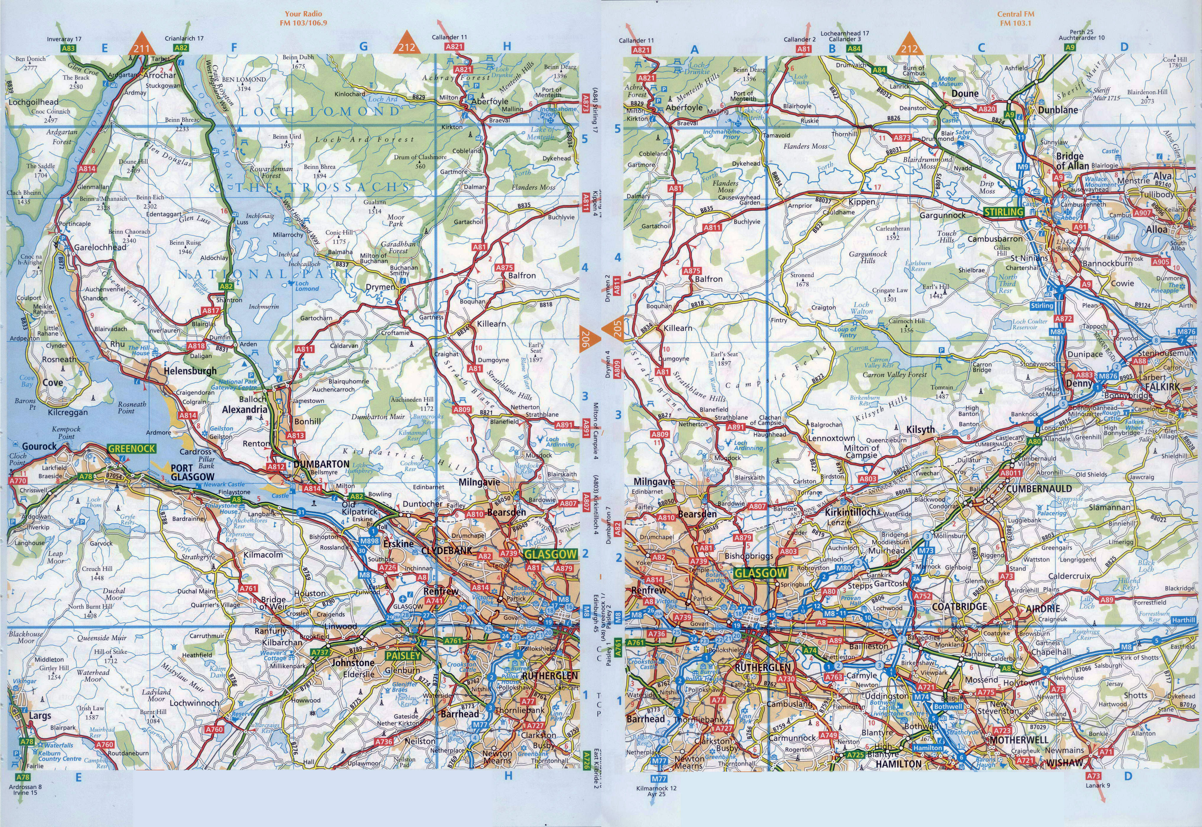 Large detailed road map of Glasgow and the surrounding area