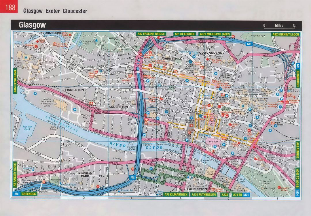 Large detailed road map of Glasgow city center