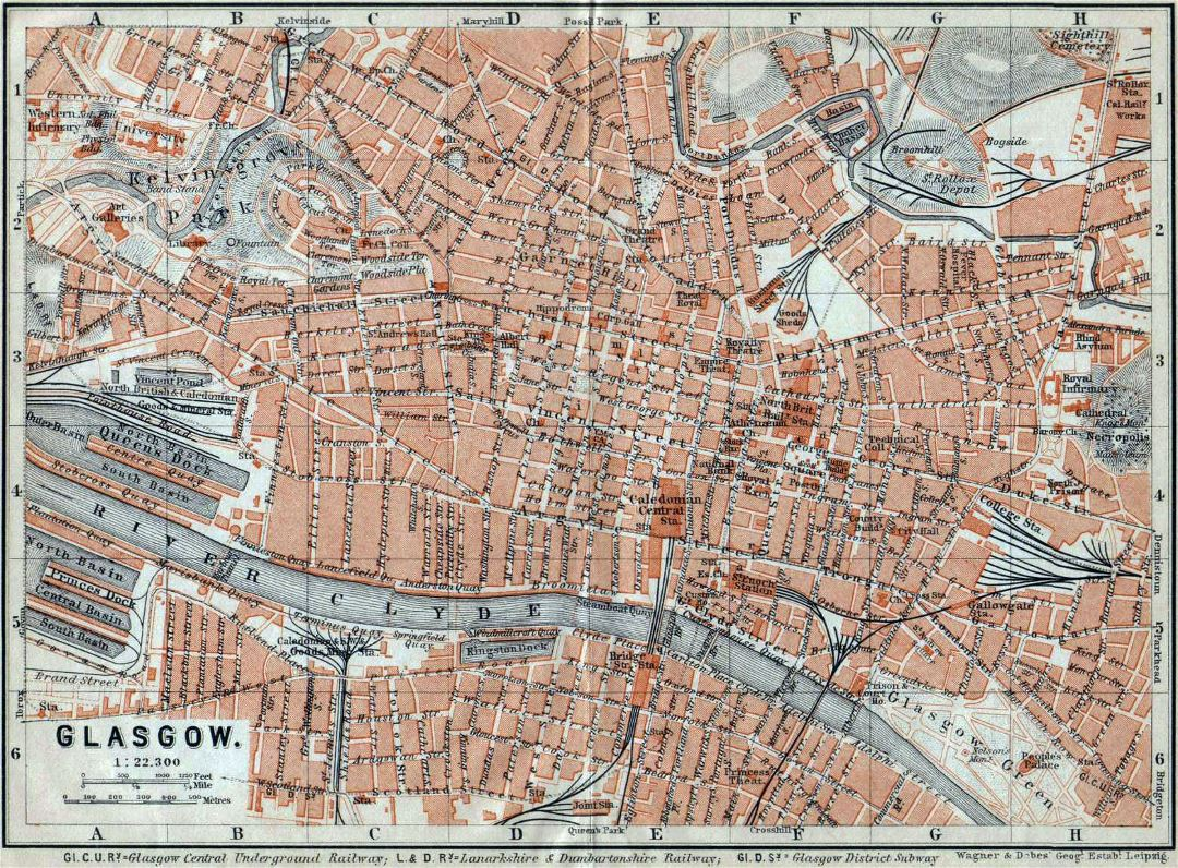 Large old map of Glasgow city - 1910
