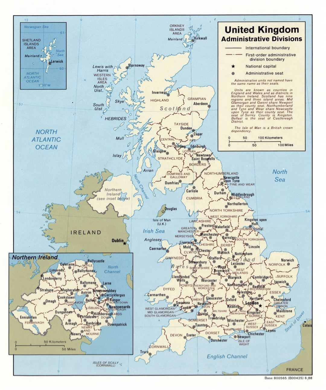Large detailed administrative divisions map of United Kingdom - 1988