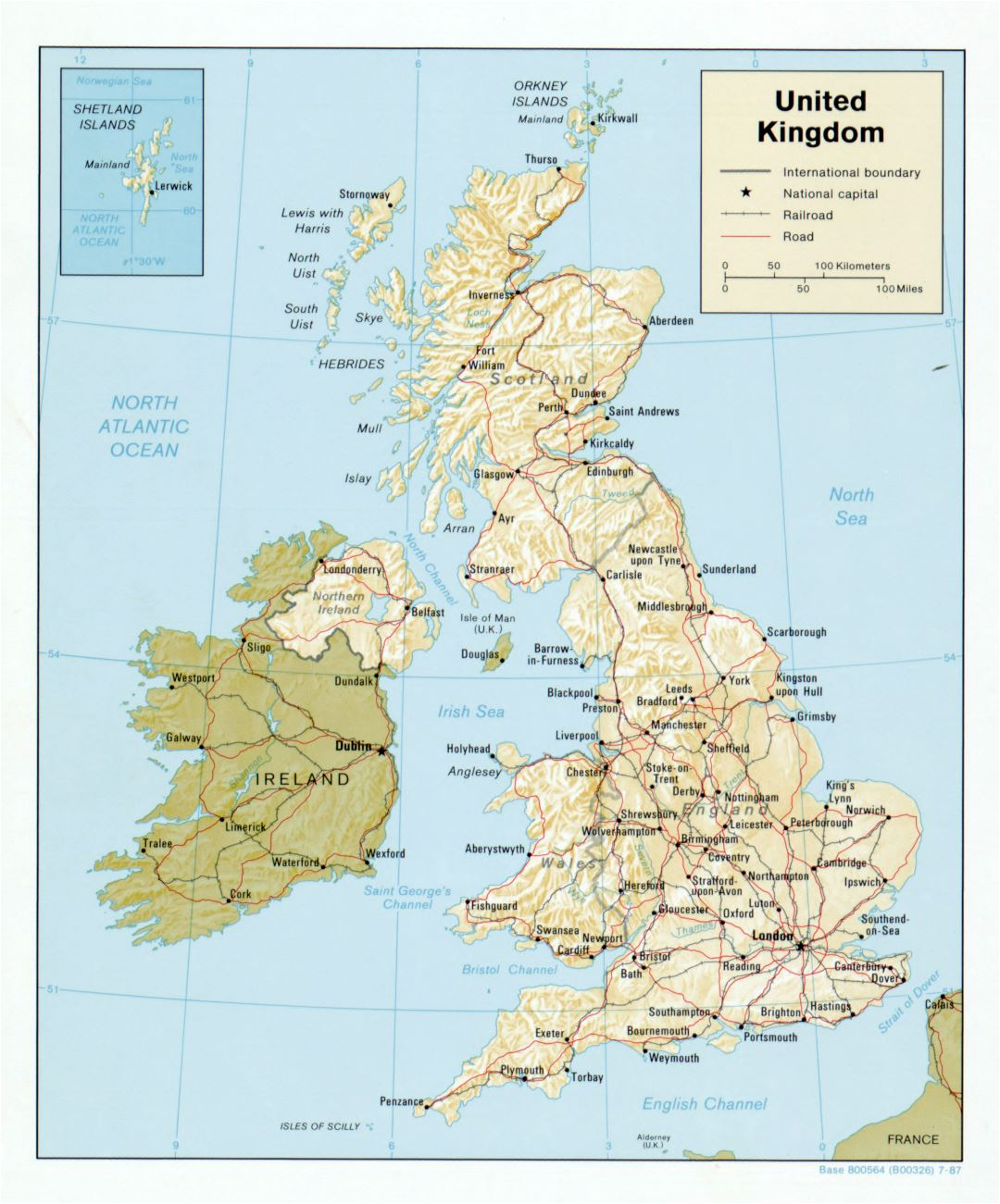 Large detailed political map of United Kingdom with relief, roads, railroads and major cities - 1987