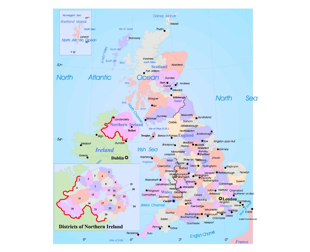 Maps Of United Kingdom Detailed Map Of United Kingdom In English - Ireland major cities map