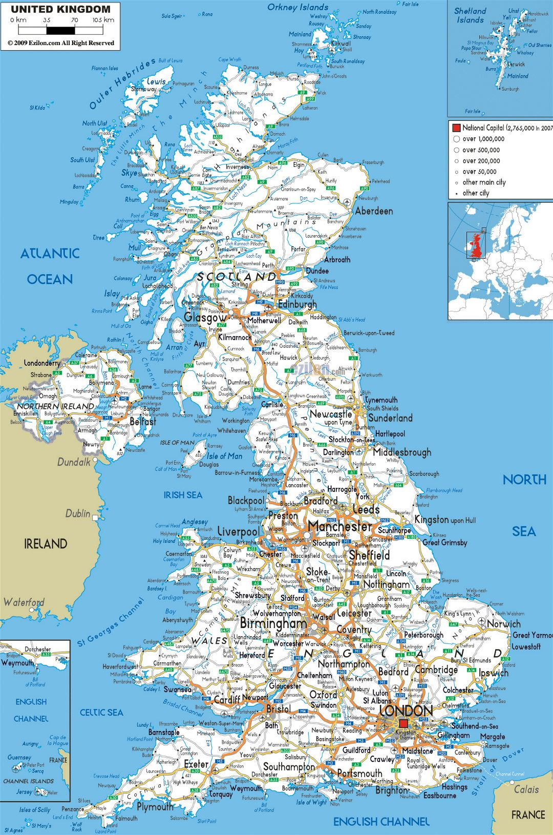 Large road map of United Kingdom with cities and airports