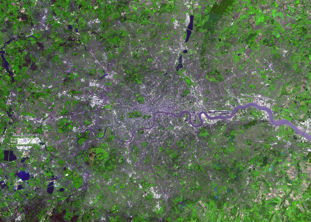 Large satellite map of London city