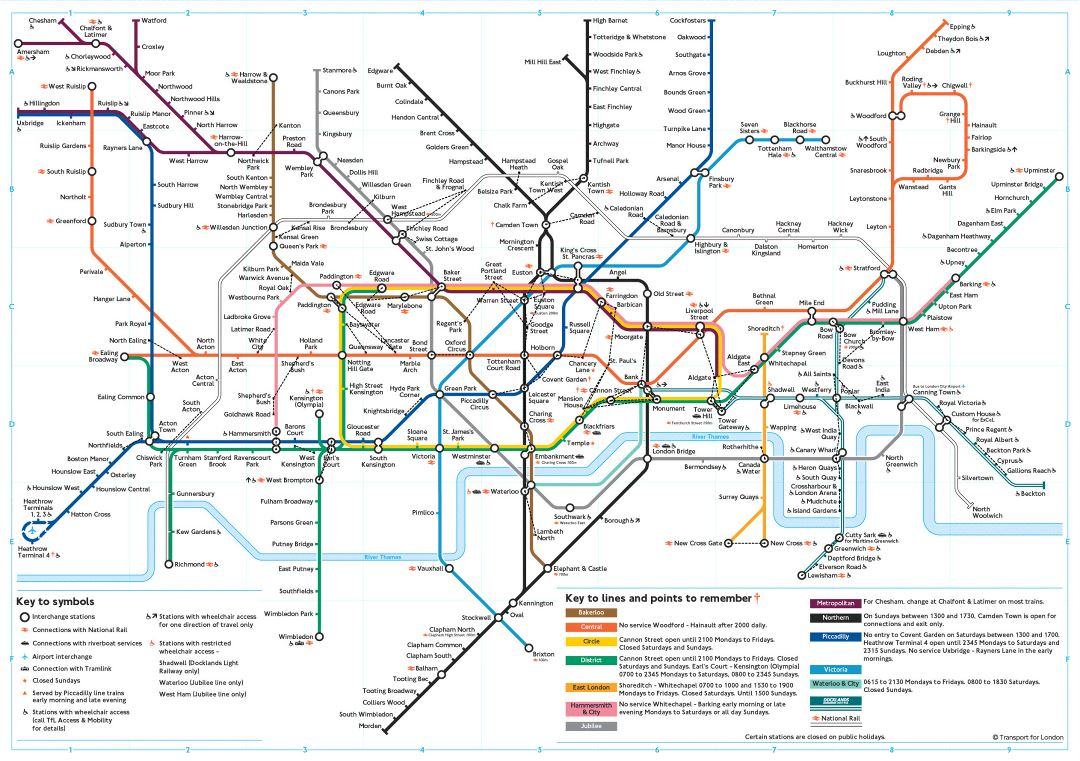 Large subway map of London city