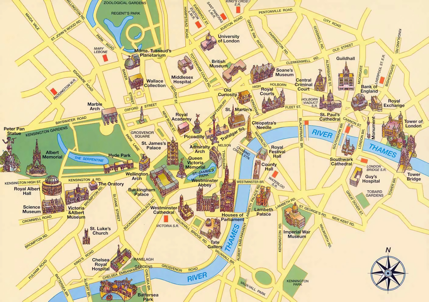 large tourist map of london city center