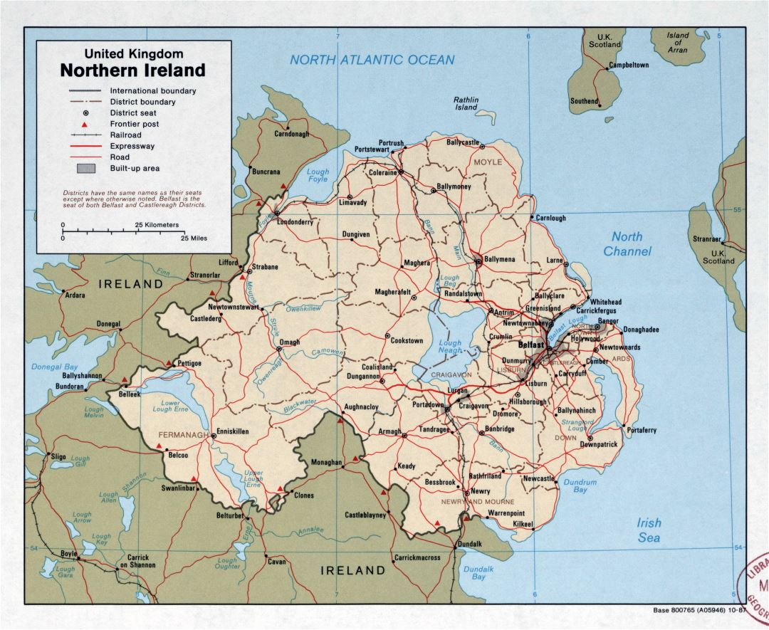 Large scale political and administrative map of Northern Ireland with roads, railroads and major cities - 1987