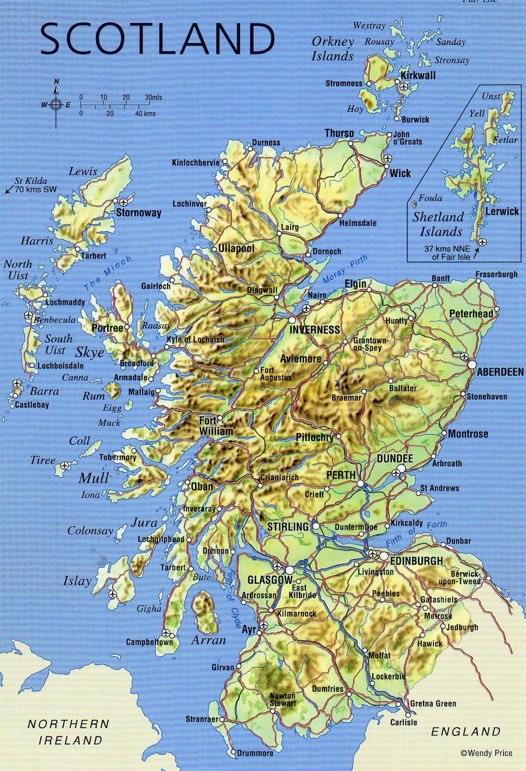 Large detailed map of Scotland with relief, roads, major cities and airports