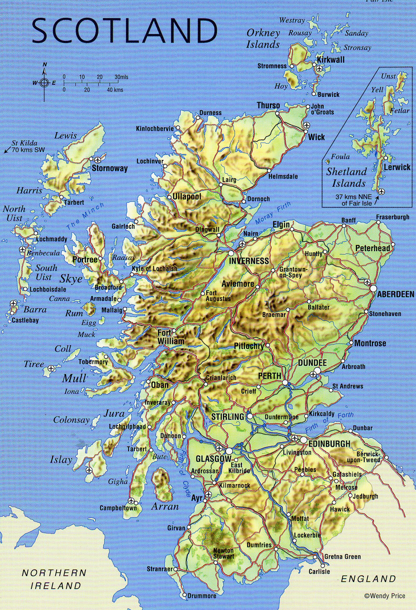 Large detailed map of Scotland with relief roads major cities and airports