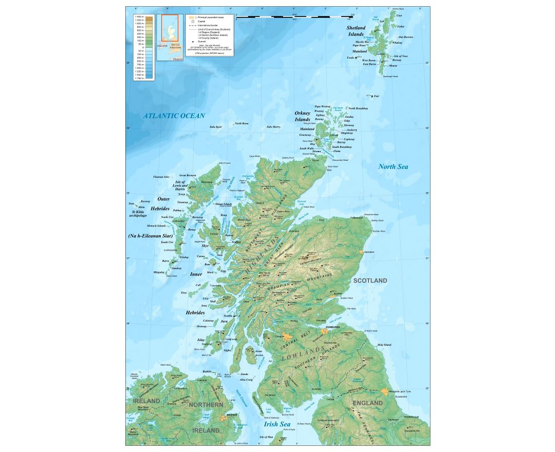 Maps Of Scotland Detailed Map Of Scotland In English Political - Physical map of ireland