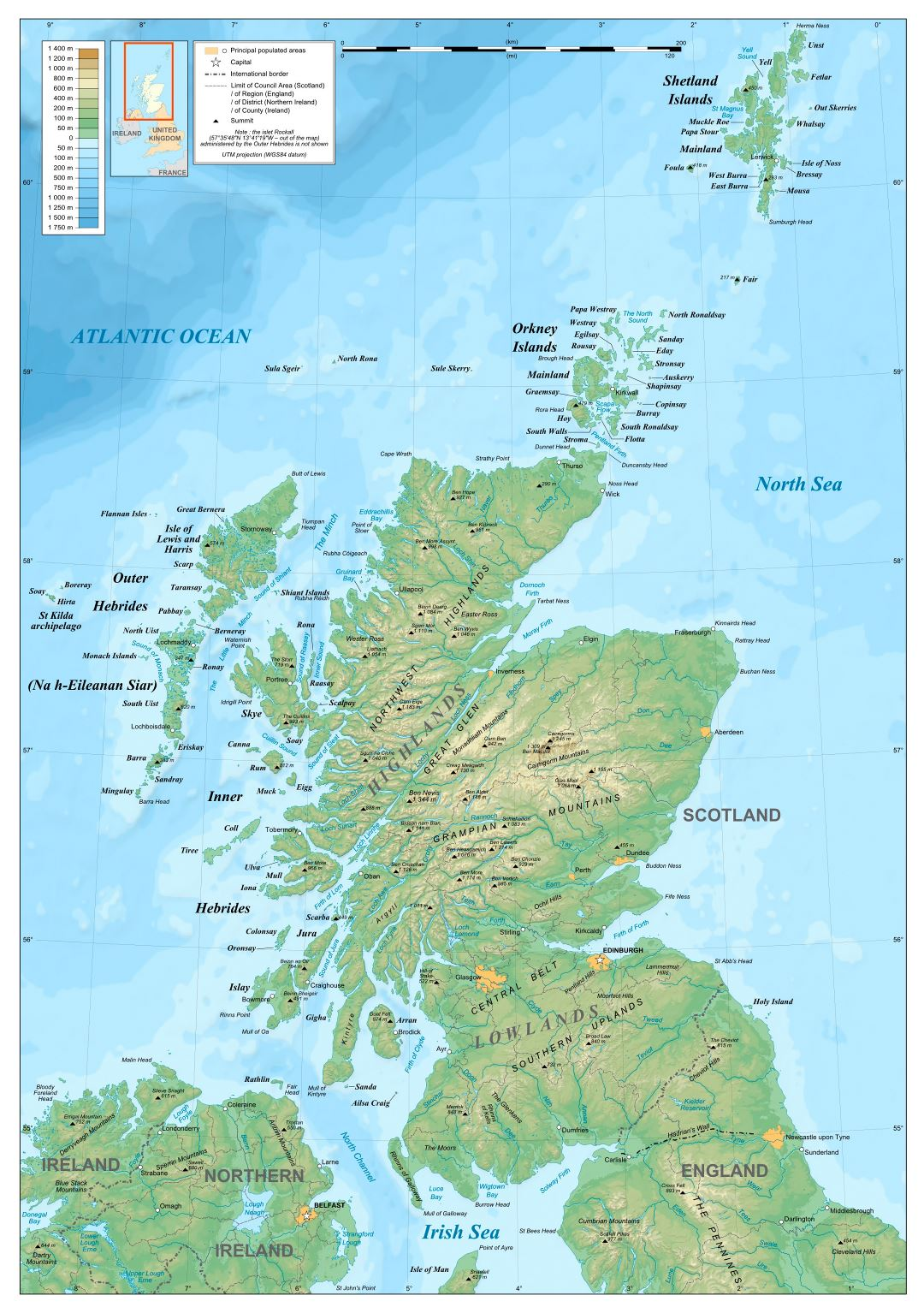 Large detailed physical map of Scotland