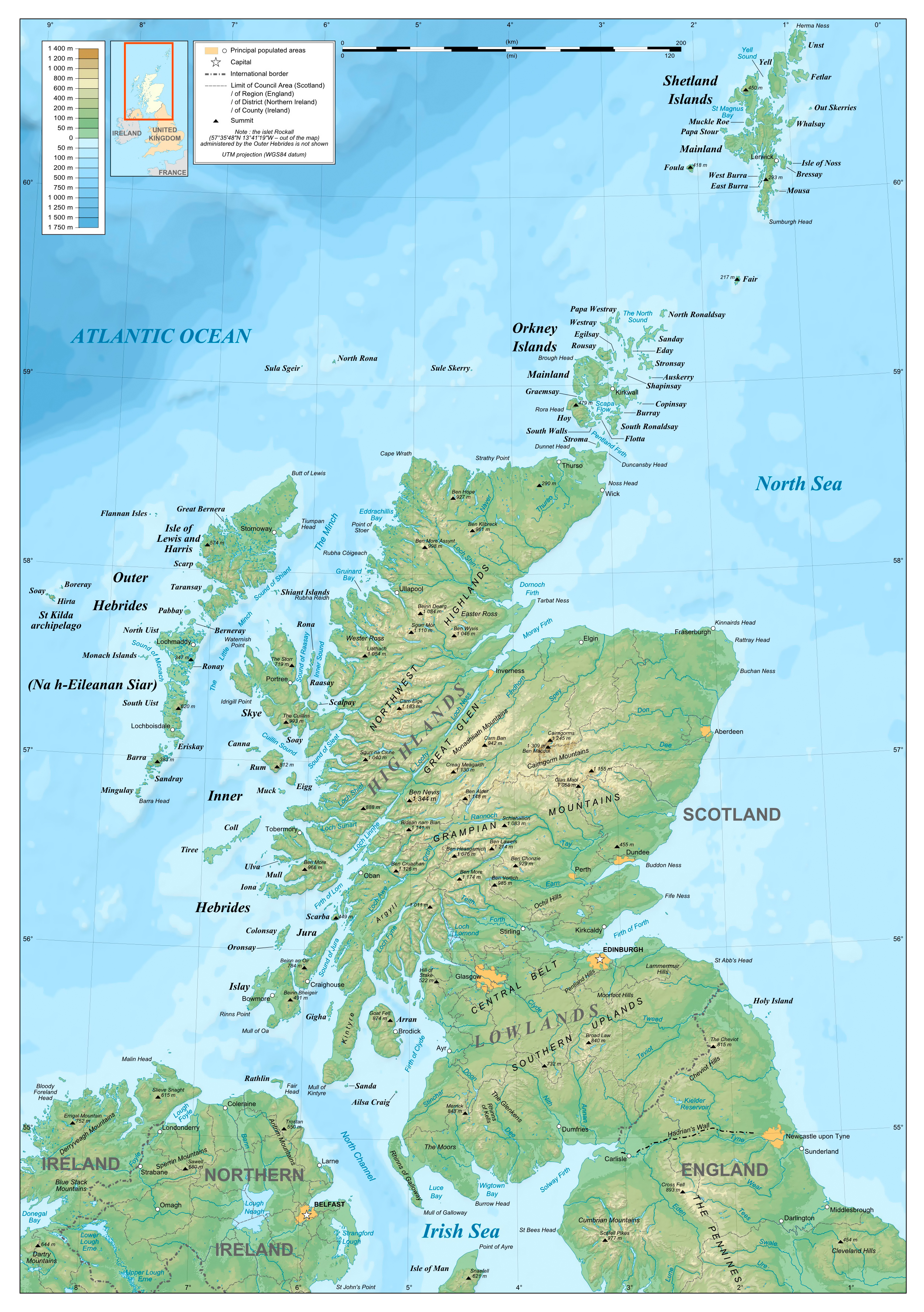 Large detailed physical map of Scotland Scotland United Kingdom