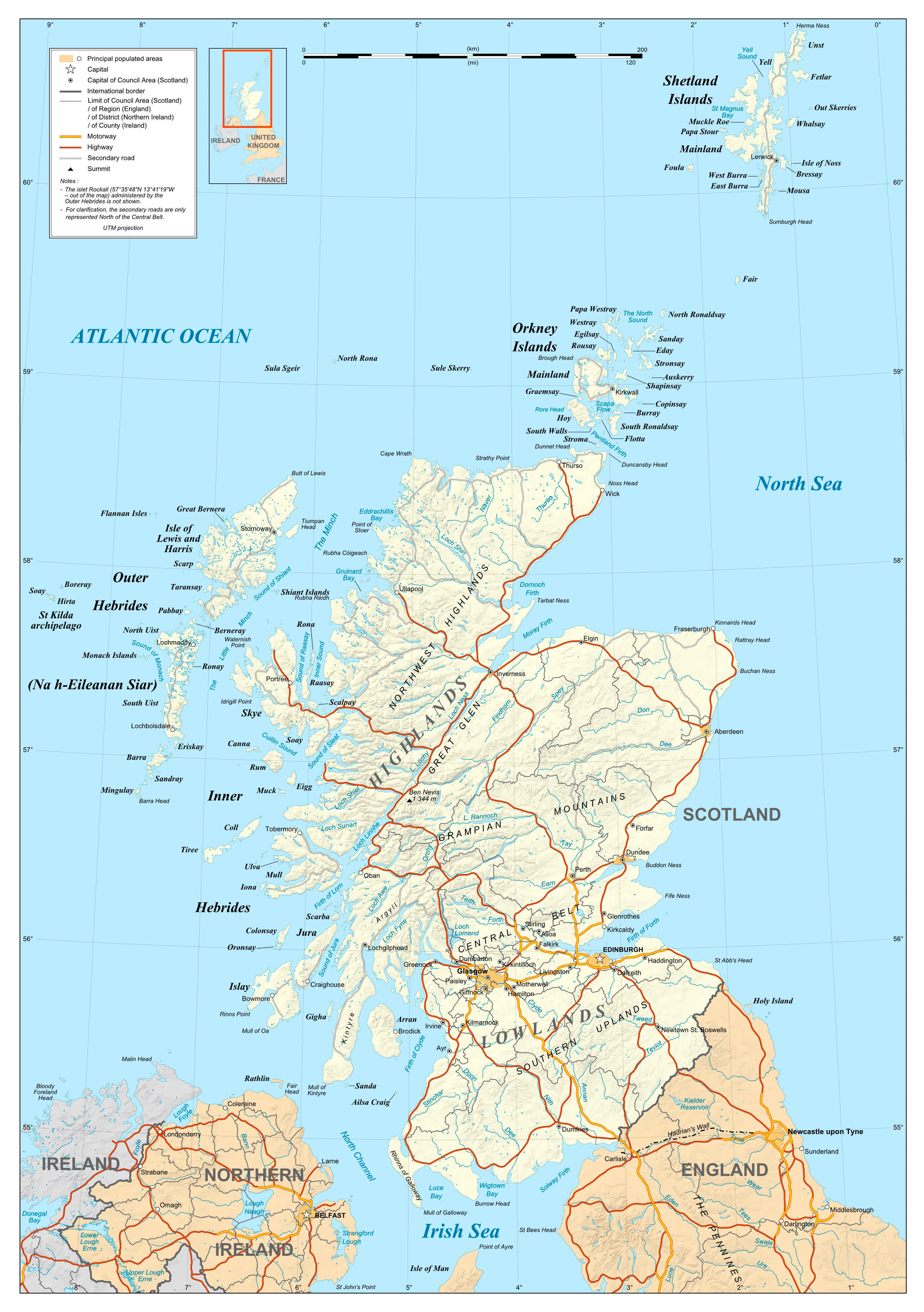 Large Detailed Political Map Of Scotland Scotland United - Political map of united kingdom